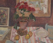 ël Gilford Adeney (British 1890-1978), Still life of flowers, pears and grapes