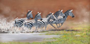 Pip McGarry (British b. 1955), Flight of Zebras