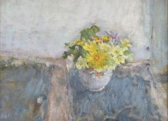 Diana Armfield (British b. 1920), Spring Flowers on a Slate Windowsill