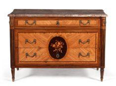 ϒ A Continental tulipwood, kingwood and marquetry commode, late 18th century