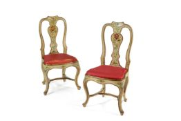 A pair of Genoese cream and polychrome painted chairs, circa 1770