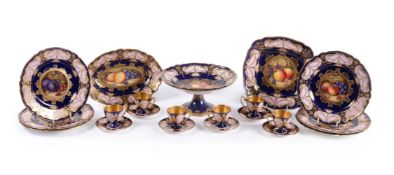 A Royal Worcester part dessert service mostly painted by R. Sebright , 1920s