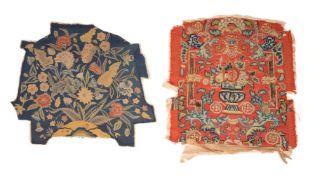 Five various needlework seat covers