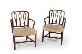A pair of George III mahogany armchairs, circa 1760