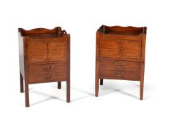 A matched pair of George III mahogany and inlaid night commodes, circa 1780