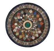 A pair of circular specimen marble pietra dura table tops
