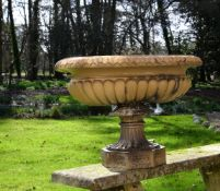 A substantial Victorian salt glazed stoneware garden urn by Lipscombe