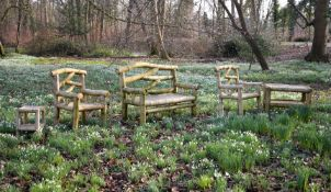 A suite of bamboo garden seat furniture