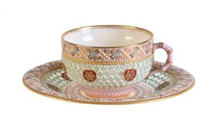 A Royal Worcester reticulated cup and saucer of George Owen type, last quarter 19th century
