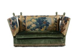 A velvet and verdure tapestry upholstered knole sofa