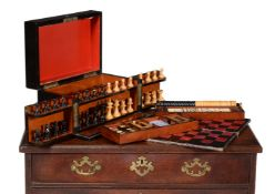 A Victorian coromandel games box or 'Royal Cabinet of Games' compendium, circa 1860