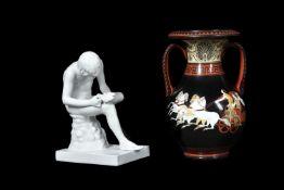 A Continental porcelain Etruscan-style vase, circa 1830-50