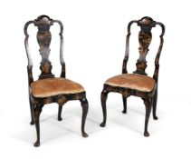 A set of six black Japanned chairs, in Queen Anne style, 19th century
