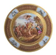A Vienna style charger painted with the Triumph of Bacchus and Ariadne, late 19th century