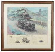 λ Terence Cuneo (British 1907 -1996) 'Bentley V Blue Train'