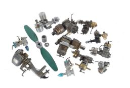 A collection of ten small Glo-plug aero engines