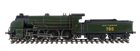 A 5 inch gauge model of the Southern Railway King Arthur Class 4-6-0 tender locomotive No 785 'Sir M