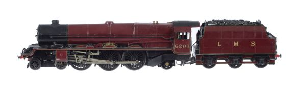 A fine gauge 1 model of a Princess Class tender locomotive No 6203