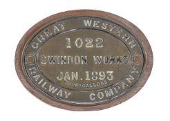 A Great Western Railway Company 3000 gallon brass tender plate