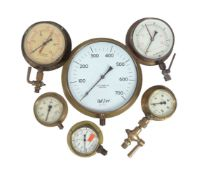 A collection of six marine gauges