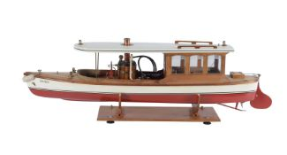 A model of a live steam powered Windermere/river launch 'Dolphin'
