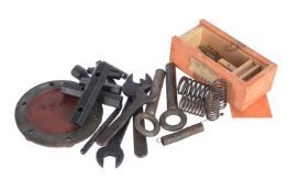 An original Gardner tool box with contents