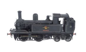 A 10mm scale scratch-built gauge 1 model of an Adams 0-4-4 side tank locomotive No 21 'Sandown'