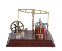 A model of an Old Model Company No 2 polished brass electronic driven beam engine