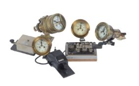 A collection of marine/ships log gauges and Morse code instruments