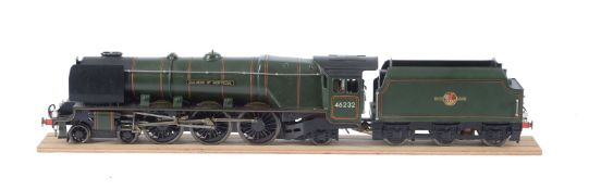 A gauge 1 live steam model of the British Railways 4-6-2 tender locomotive No 46232 'Duchess of Mont