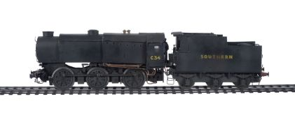 A scratch built gauge 1 model of a 0-6-0 Bullied Austerity tender locomotive No C34