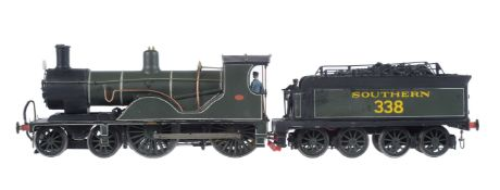 A scratch-built gauge 1 model of a 4-4-0 LSWR Drummond T9 tender locomotive No 338
