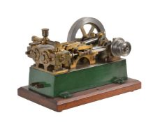 A vintage model of a live steam twin simple horizontal mill engine