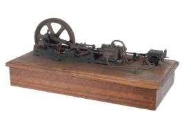 A vintage model of a live steam horizontal mill engine
