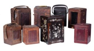A group of eight rectangular carriage clock travelling cases ,late 19th century