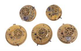 Five verge pocket watch movements , various makers, late 18th century and later