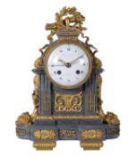 A French Louis XVI ormolu mounted marble calendar mantel clock, Martinet, London, late 18th century