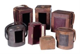A group of seven leather covered carriage clock travelling cases, mid 19th century and later