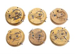 Six lever pocket watch movements , various makers, 19th century