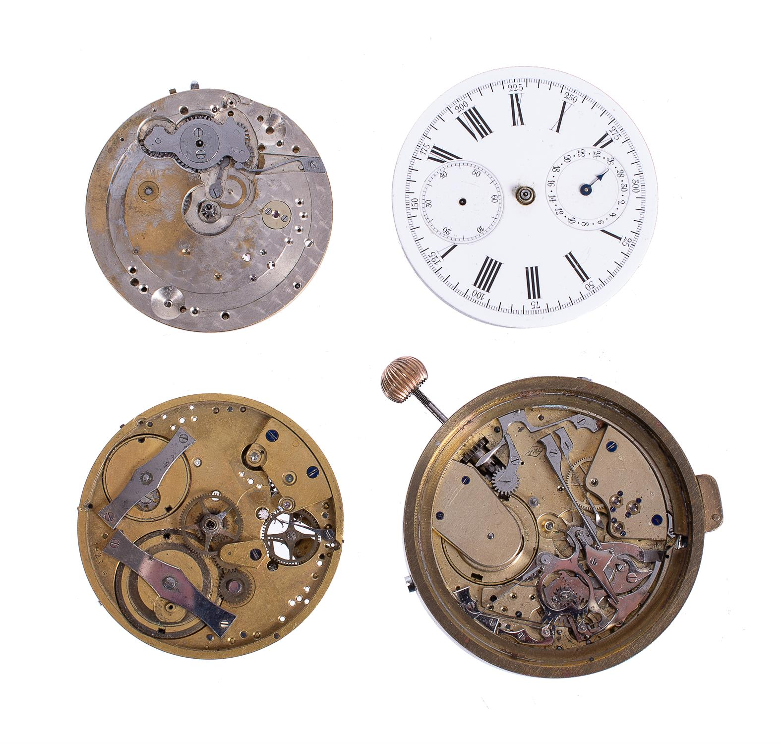 Lot 58 - Three chronograph watch movements and another quarter-repeating, all unsigned, Swiss, 20th century