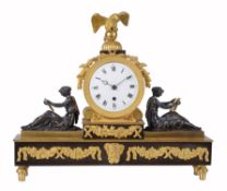 A Regency bronze mantel timepiece , unsigned but probably by Baetens, London, circa 1825