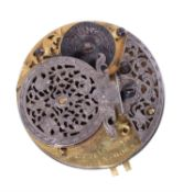 A George I verge pocket watch movement and dial, John Bowen and John Masters, Bristol circa 1720