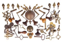 A group of eight longcase clock crank keys, anonymous, 19th century and later