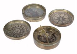 A George III brass pocket sundial and a compass, the sundial signed C. Stedman, London, circa 1800