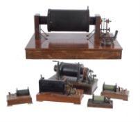 A collection of six laboratory electric induction coils, unsigned, early 20th century