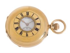 A Victorian 18ct gold keyless lever half-hunter pocket watch, J.W. Benson, London, 1916