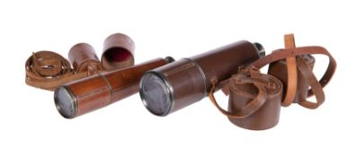 Two brass and leather refracting telescopes, one by Dollond, London, 20th century
