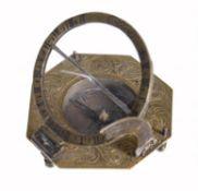 A German gilt brass portable equinoctial compass sundial , Ludwig T. Muller