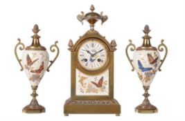 A gilt and porcelain mantel clock garniture with glass bead highlights, Achille Brocot, circa 1895