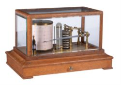 An oak cased barograph with thermometer, G. Lee and Son, Portsmouth, early 20th century